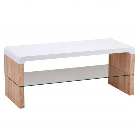 Tv-meubel Faro 100cm met glazen legplank - wit/eik
