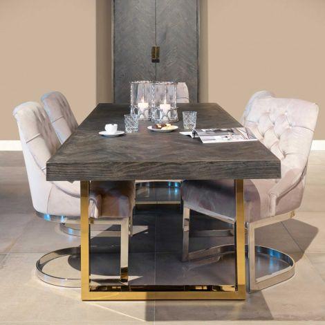 Uitschuifbare eettafel Bony 195/265x90cm - zwart/goud