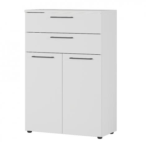 Classeur bas Osmond 80cm à 2 portes & 2 tiroirs - gris clair