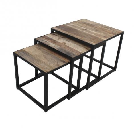 Set van 3 salontafels Assos - mangohout / ijzer