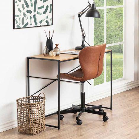Sidetable/bureau Dover 100cm industrieel - zwart/wilde eik