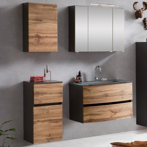 Ensemble salle de bains Kornel 8 à 4 pièces avec vasque grise - gris graphite/chêne