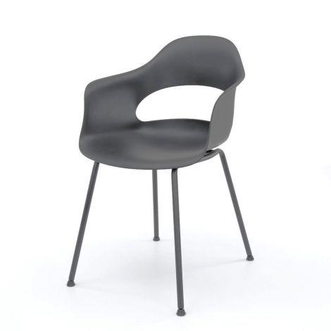 Chaise en polypropylène pietement metal poudrage electrostatique - Lot de 4 - Gris