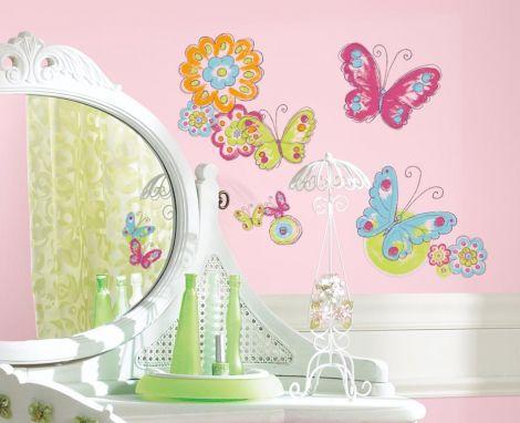 RoomMates muurstickers - Vlinders met handgeschilderd effect