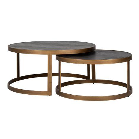 Set van 2 salontafels Bony - zwart/geborsteld goud