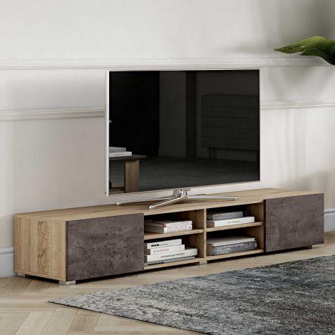 Tv-meubel Podium 185 cm - eik/beton