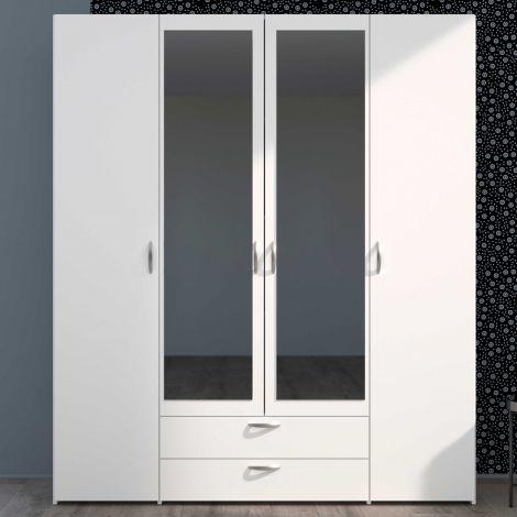 Opbergkast Salvador spiegels, 4 deuren & 2 laden - wit