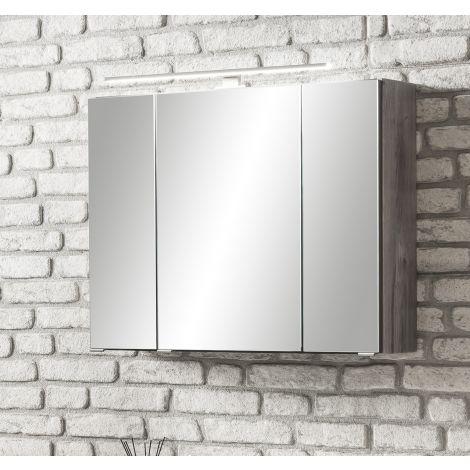 Spiegelkast Stivan 80cm 3 deuren & ledverlichting - grijze eik