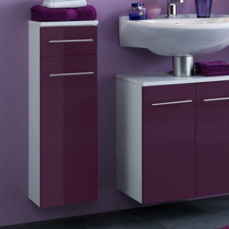 Armoire de salle de bains Small 25cm 1 tiroir & 1 porte - violet brillant