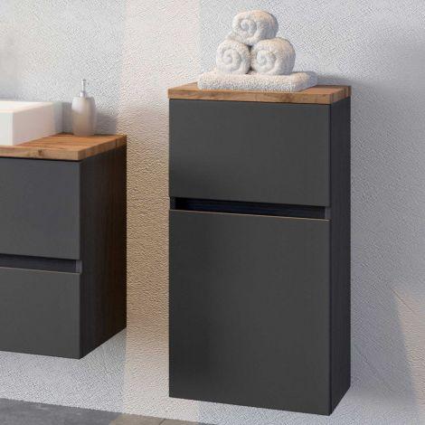 Armoire salle de bains Pisca 40cm 1 porte & 1 tiroir - graphite