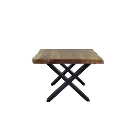 Salontafel SoHo - 60x60 cm - acacia / ijzer - powdercoated black
