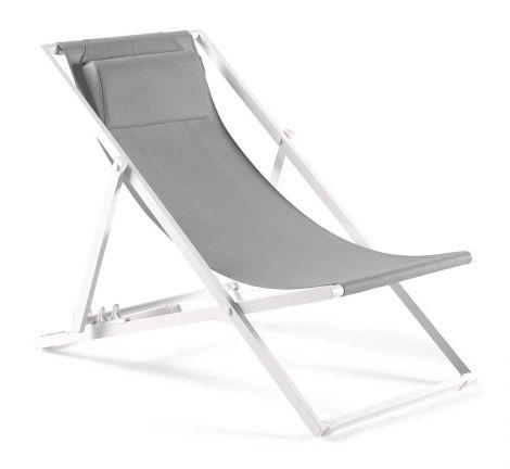 Strandstoel Mallorca - wit/lichtgrijs