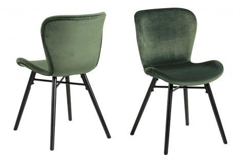 Set de 2 chaises en velours Tilda avec pieds obliques - vert forêt/noir