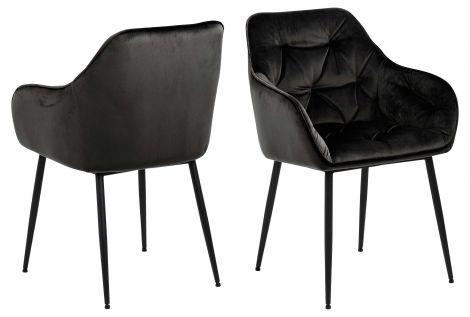 Set van 2 armstoelen Lynn - grijsbruin/zwart
