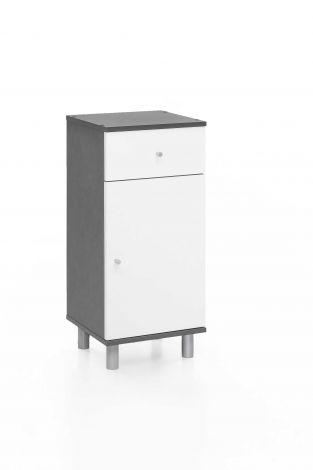 Armoire de salle de bains Benja 1 porte & 1 tiroir - blanc/gris graphite