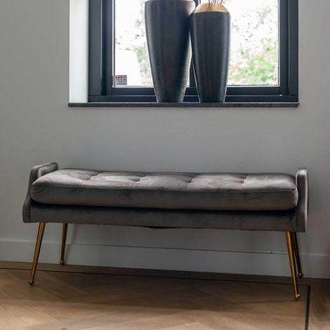 Canapé Rebel 121,5cm velours - gris