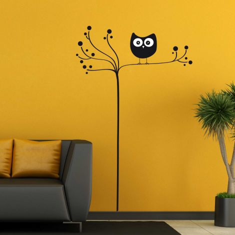 Muursticker Owl On Tree XL