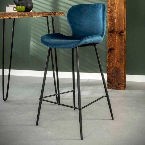 Set de 4 chaises de bar Vince - bleu