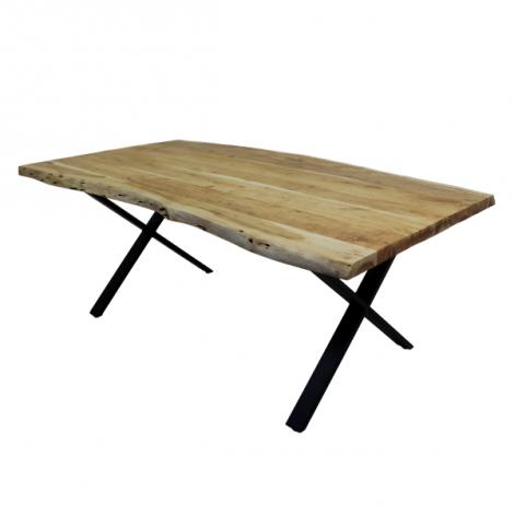 Table de repas SoHo 240x100cm cadre X - acacia/fer