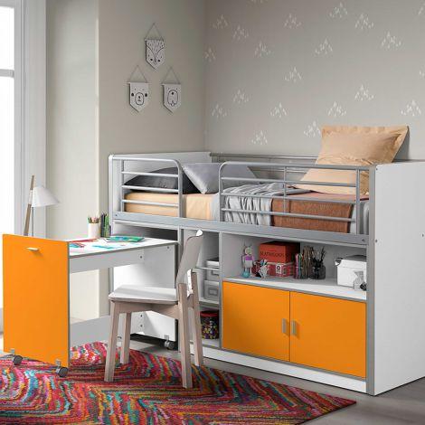 Halfhoogslaper met bureau Bonny 91 - oranje