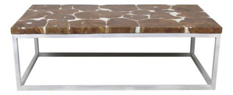 Salontafel - white resin - teak / ijzer