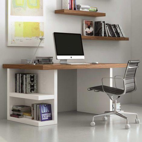 Bureau Multis 160cm - wit/walnoot
