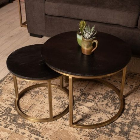 Set van 2 salontafels Finnley rond – zwart/antiek goud