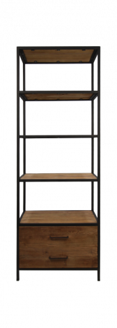 Open kast met 2 lades - teak / ijzer