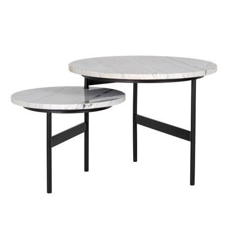 Set van 2 draaibare salontafels Lexington - wit/zwart