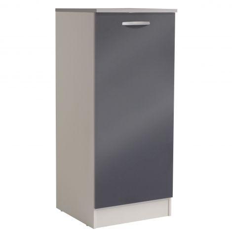 Armoire de cuisine Spott H140 cm avec porte - glossy grey