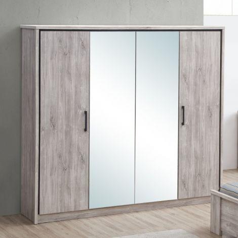 Kledingkast Sela 214cm met 4 deuren & spiegels - grijze eik