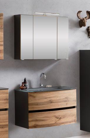 Ensemble salle de bains Kornel 1 à 2 pièces avec vasque grise - gris graphite/chêne