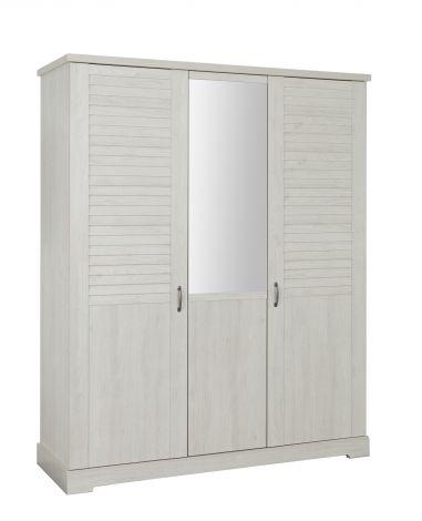 Armoire Wanda 170 cm 3 portes  & miroir - châtaignier blanchi