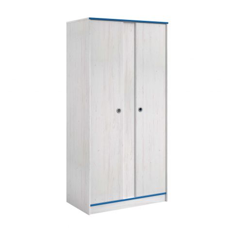 Kledingkast Smoozy 90cm 2 deuren - wit/roze of wit/blauw