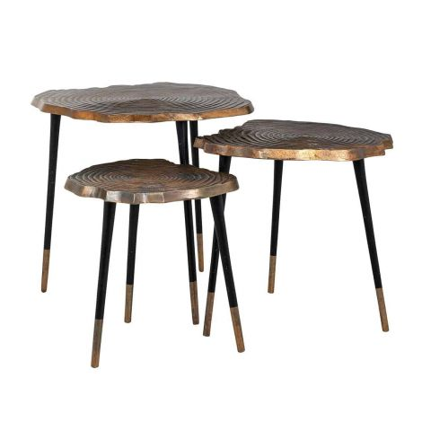 Set van 3 salontafels Sherman - goud