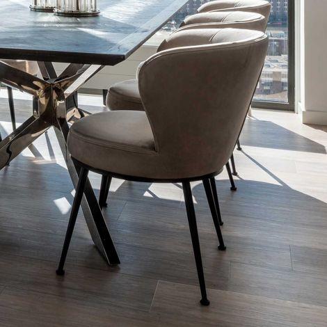 Chaise de salle à manger Maddy velours - kaki/noir
