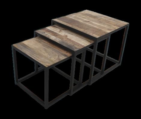 Salontafelset vierkant - set van 3 - mangohout / ijzer