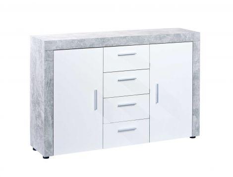 Dressoir Beton 2 deuren industrieel - wit/grijs