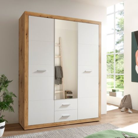Kledingkast Storck 151cm 3 deuren & 2 lades & spiegel - artisan eik/wit