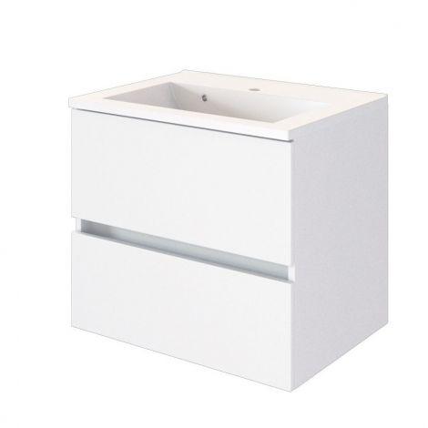 Meuble lavabo Brama 60cm 2 tiroirs - blanc