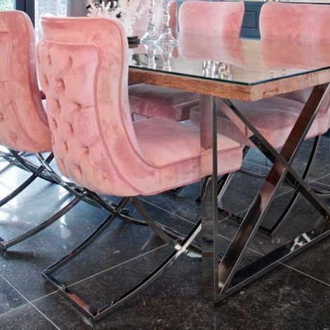 Stoel Cal velours - roze/zilver