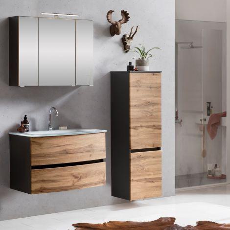 Ensemble salle de bains Kornel 3 à 3 pièces avec vasque blanche - gris graphite/chêne