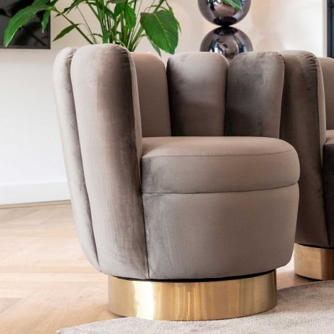 Fauteuil May velours - gris/or