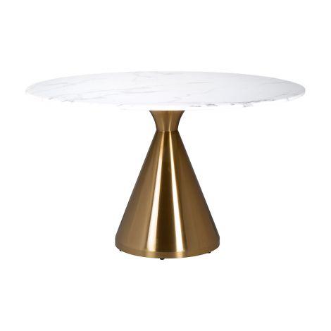 Eettafel Tennis ø130cm - goud/wit
