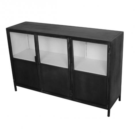 Dressoir Bronx 130cm met 3 deuren - grijs/wit