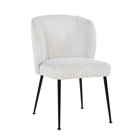 Chaise de salle à manger Fallon bouclé - blanc