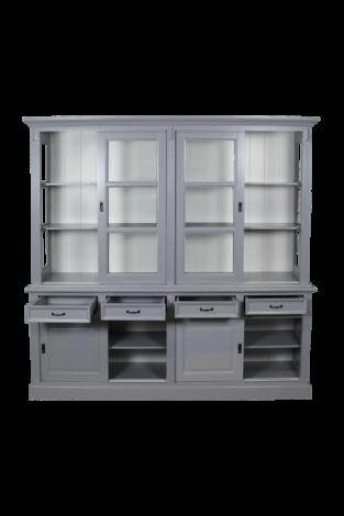 Buffetkast Provence - 220 cm - grijs / wit