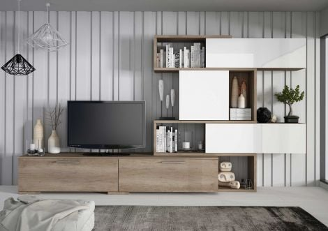 Tv-meubel Verena 230cm - eik/wit