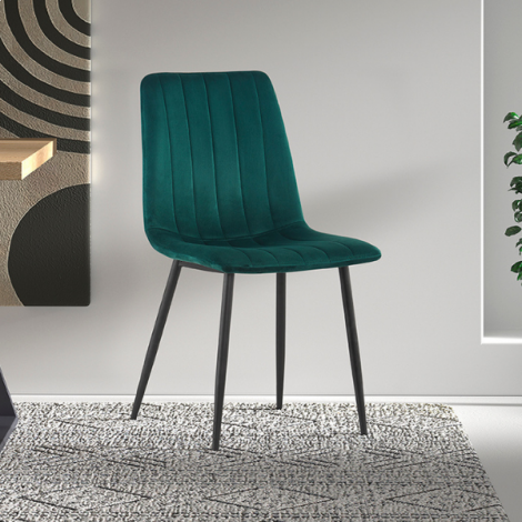 Set van 2 stoelen Willie velours - groen/zwart