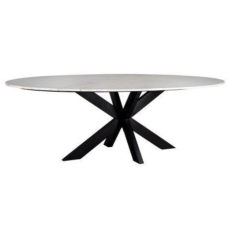 Eettafel Lexington ovaal 230cm - wit/zwart